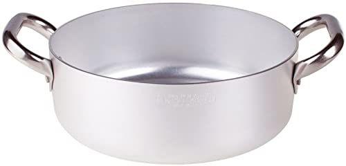 Pentole Agnelli Linia aluminiowa 3 mm płaski rondel z 2 uchwytami 16 cm srebrny/czarny
