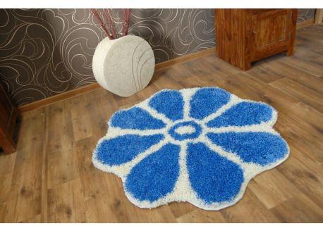 Dywan SHAGGY GUSTO Kwiatek C300 niebieski koło 100 cm