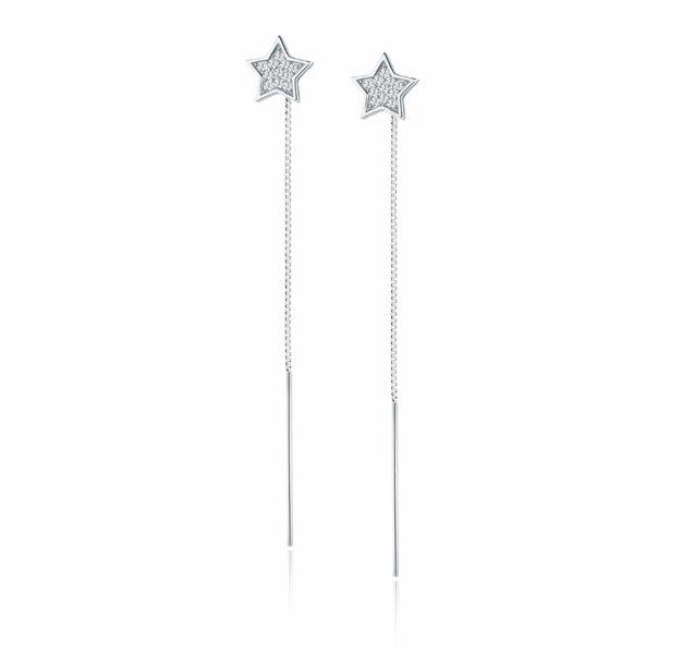 Delikatne przewlekane rodowane srebrne wiszące kolczyki gwiazdki stars cyrkonie srebro 925 Z1485EPR
