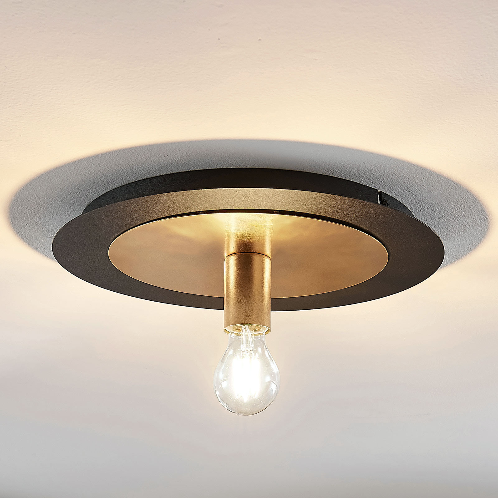 Metalowa lampa sufitowa Justik, 1-punktowa, czarna