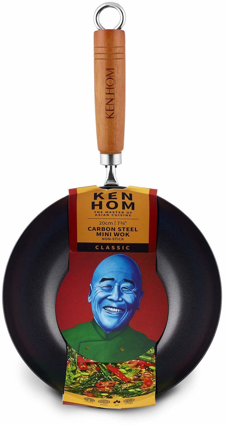 Ken Hom klasyczny nieprzywierający mini wok, stal węglowa, czarny, 20 cm