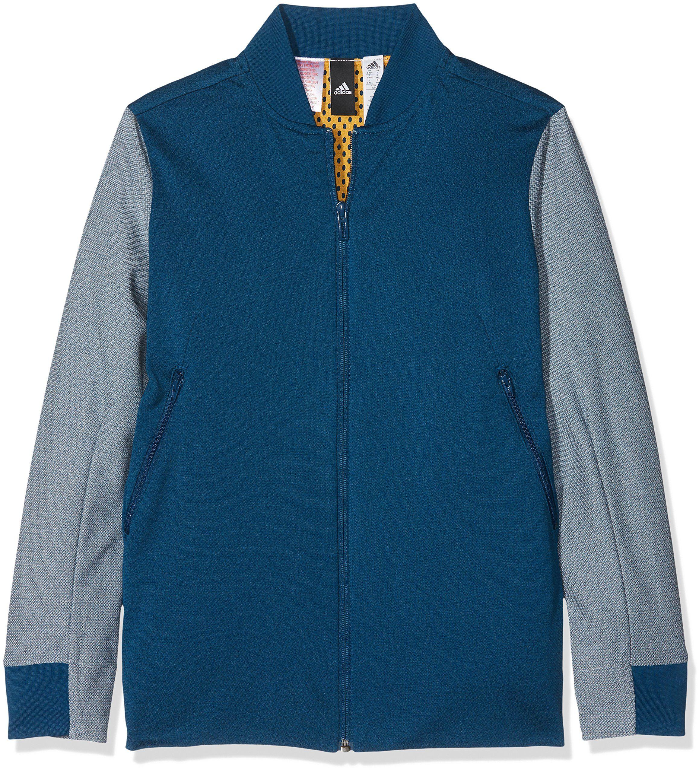 Adidas Boys'' Yb ID kurtka bomberka, niebieska/azunoc/Gridos, rozmiar 140