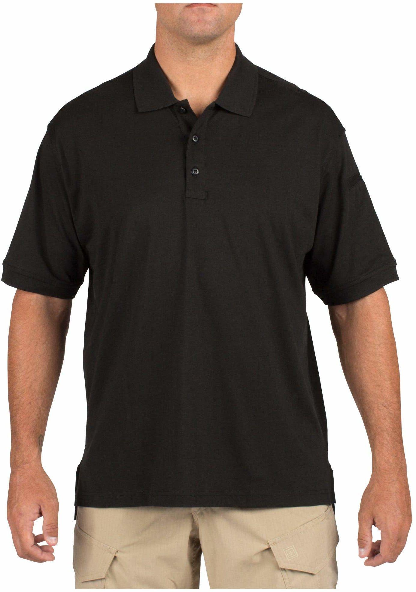 5.11 Tactical męska koszulka polo, krótki rękaw, nie gniecie się, bawełna, styl 71182 Small czarna