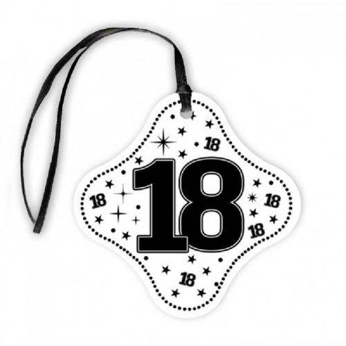 Zawieszki na butelkę na 18 urodziny STAR białe z tasiemką, 20 szt.