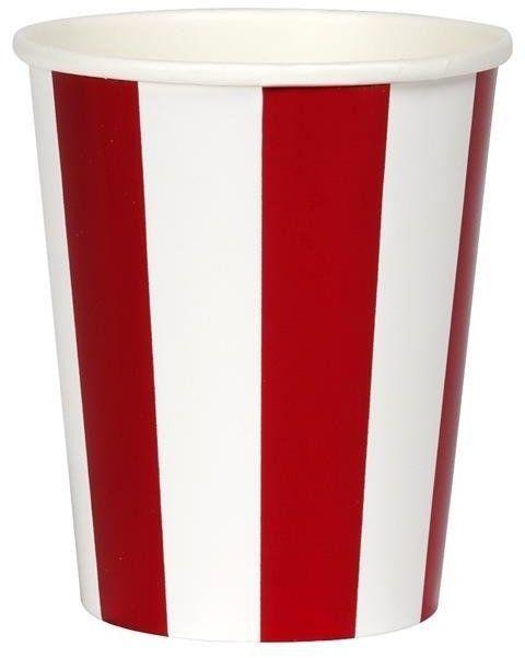 Meri Meri - Kubeczki Paski świecące biało-czerwone