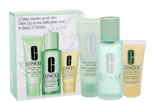 Clinique 3-Step Skin Care 1 zestaw 50ml Liquid Facial Soap Extra Mild + 100ml Clarifying Lotion 1 + 30ml DDML dla kobiet