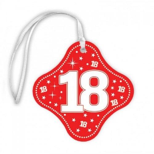 Zawieszki na butelkę na 18 urodziny STAR czerwone z tasiemką, 20 szt.