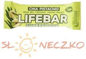 Baton DAKTYLOWO-ORZECHOWY Z NASIONAMI CHIA RAW BEZGLUTENOWY BIO 47g Lifefood