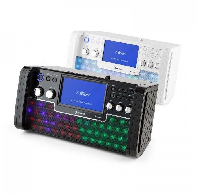 Auna DiscoFever Zestaw karaoke Bluetooth LED Ekran TFT 7 cali CD USB czarny