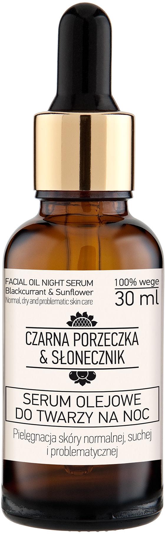 Serum olejowe do twarzy na noc Czarna porzeczka - Słonecznik 30ml