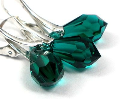 Swarovski Srebrny Komplet Łezki Emerald
