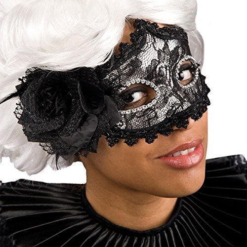 Carnival Toys 00807  maska koronkowa z piórami, czarna