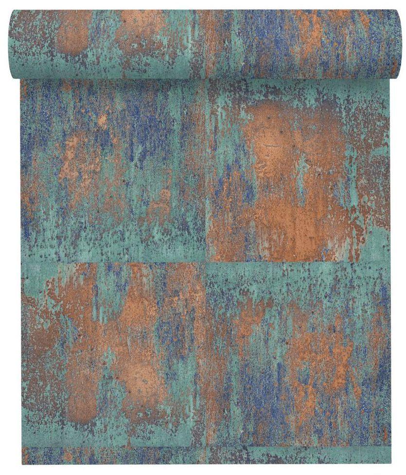 Tapeta Materials niebiesko-brązowa winylowa na flizelinie