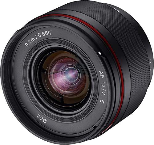 SAMYANG AF 12 mm F2.0 E obiektyw do Sony E  autofokus APS-C obiektyw szerokokątny do Sony E Mount APSC, do aparatów Sony Alpha 6600 6500 6400 6300 6100 6000 5100 500 NEX czarny, 23072