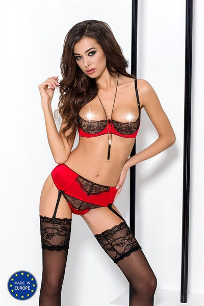 Passion Brida Set With Open Bra Red