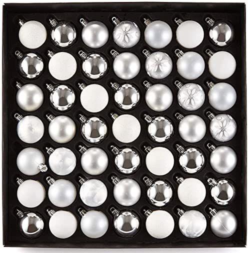 Heitmann Deco bombki choinkowe, tworzywo sztuczne, biały/srebrny, 49 części