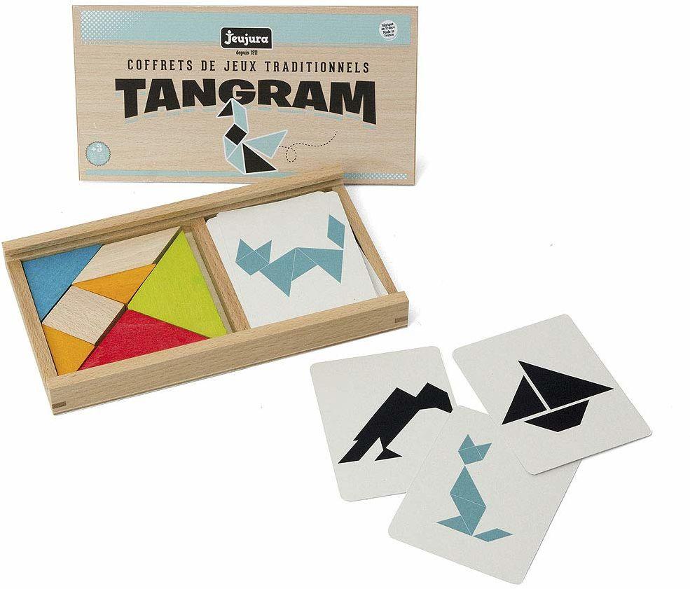 Jeujura JeujuraJ8144 gra tangram w drewnianym pudełku, wielokolorowa