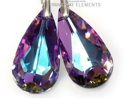 Kryształy Kolczyki 24Mm Kolory Srebro Certyfikat