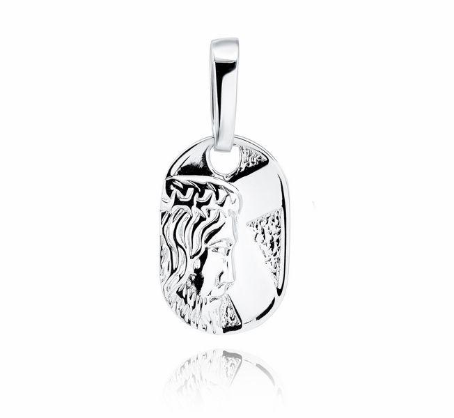 Elegancki rodowany srebrny wisiorek zawieszka medalik Jezus Chrystus srebro 925 KS0255C