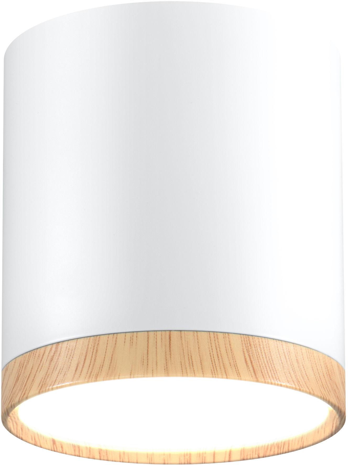 Candellux TUBA 2273624 oprawa stropowa natynkowa aluminium biały + drewniany 5W LED 4000K 6,8 cm