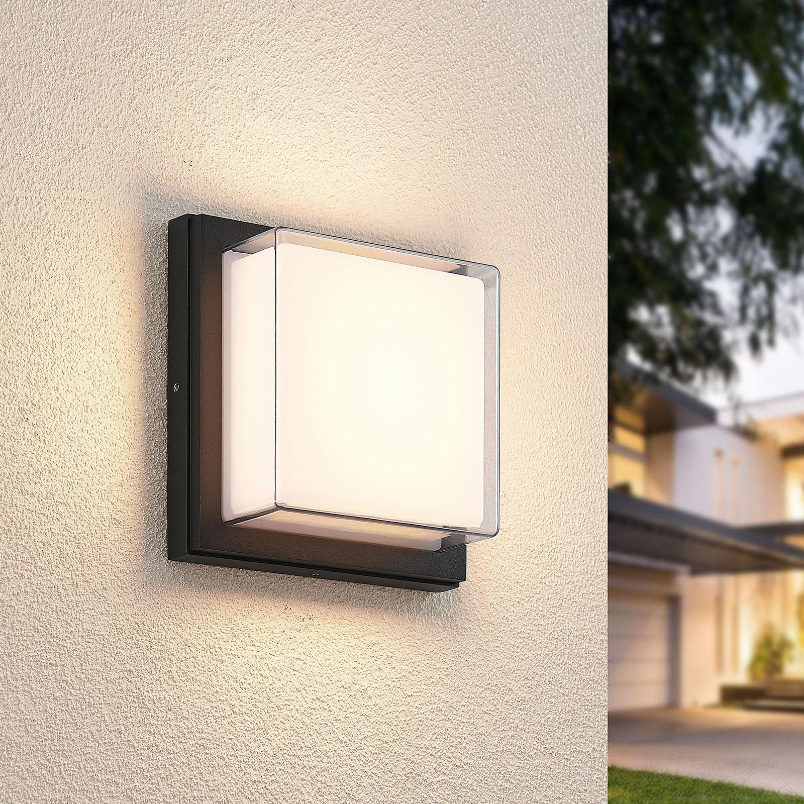 Lindby Aluki kinkiet zewnętrzny LED kwadratowy