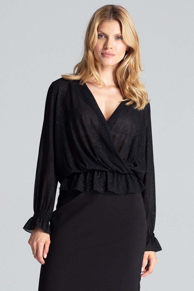 Czarna połyskująca bluzka z kopertowym dekoltem