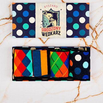 Urodzony wędkarz - Happy Socks - Dots - Zestaw 4 par skarpet męskich