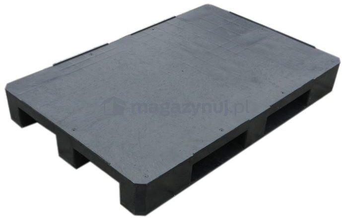 Paleta plastikowa Euro 1200x800 mm, z płozami, bortnice na krawędziach (kolor czarny)