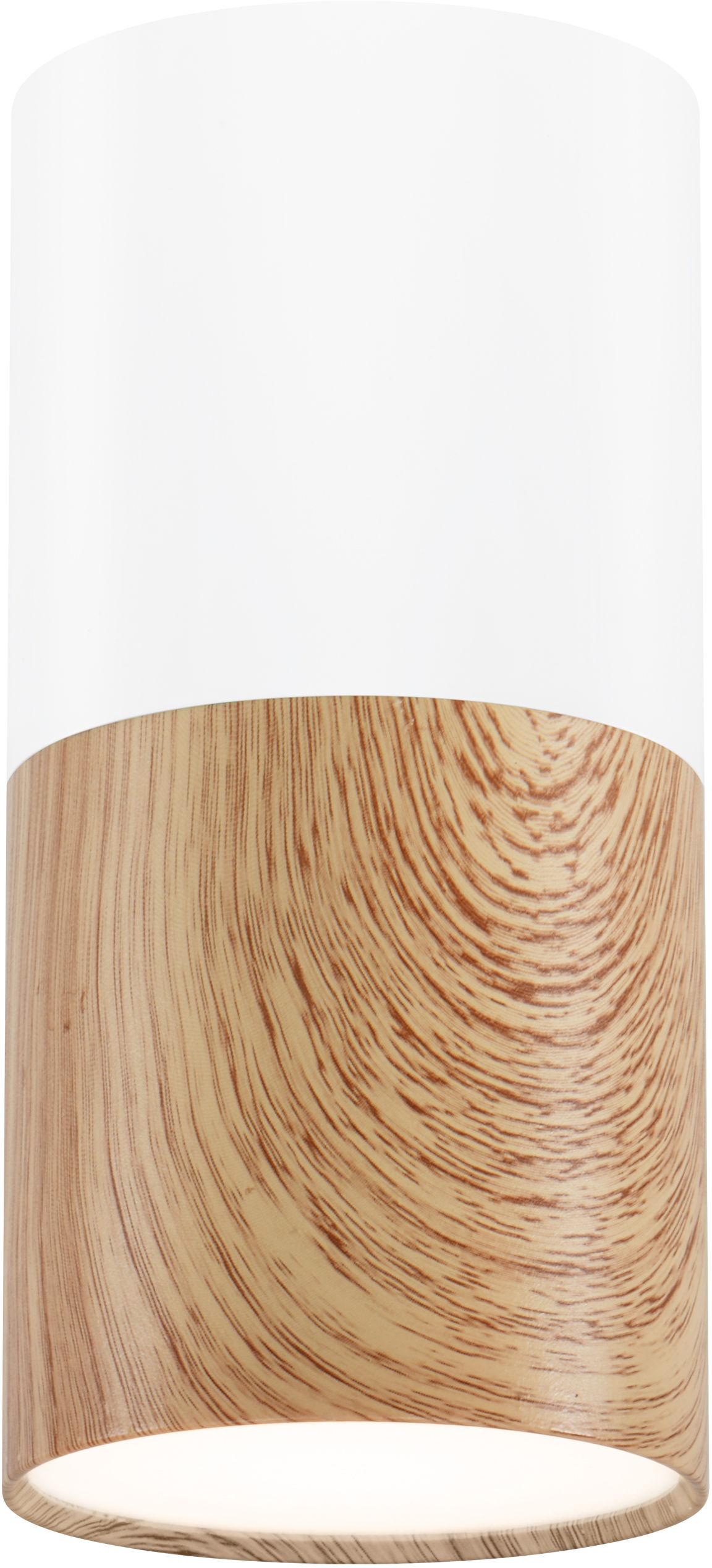 Candellux TUBA 2273655 oprawa stropowa natynkowa drewniany biały 1X50W GU10 13 cm