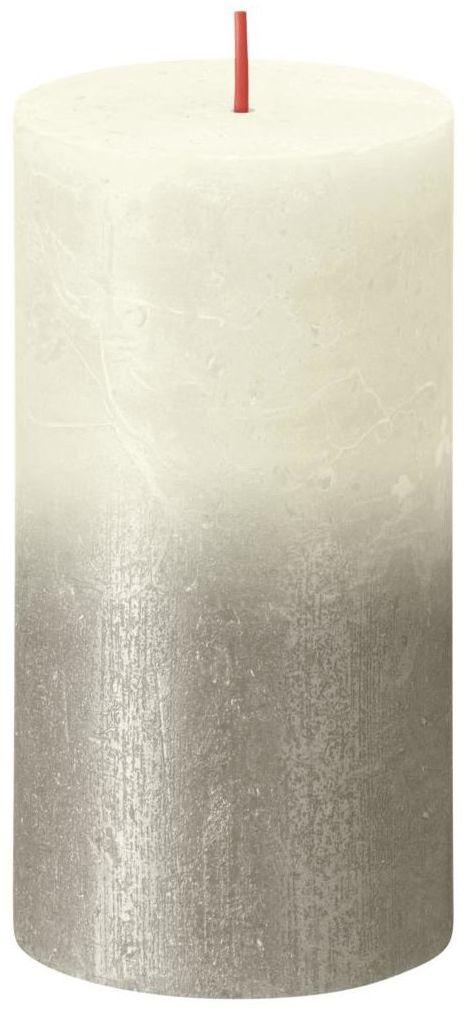 Świeca pieńkowa Rustic Sunset perłowo-srebrna wys. 13 cm Bolsius