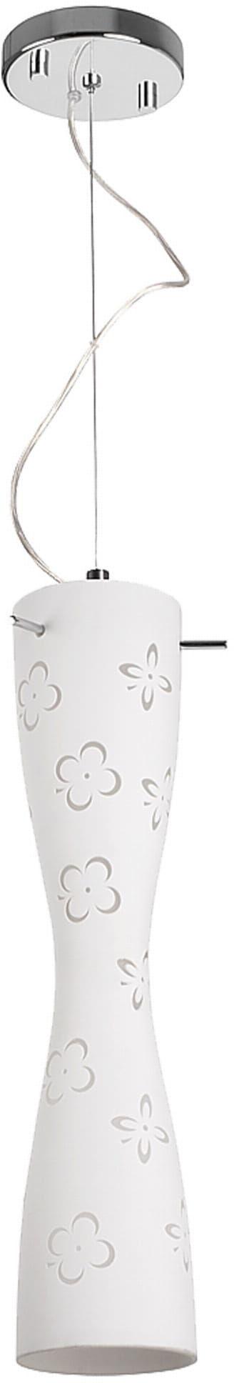 Light Prestige Flora P-611S-2CH-W lampa wisząca elegancka biała klosz z dwóch warstw rzeźba szklana 2x60W E27 13cm