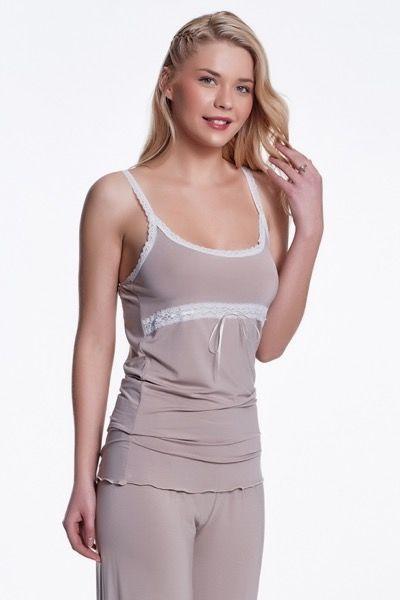 Damska bambusowa piżama BETTY Beżowy XL