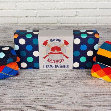 Najlepszy strażak - Happy Socks - Dots - Zestaw 4 par skarpet męskich
