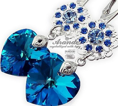 NOWE SWAROVSKI piękne kolczyki BLUE HEART FEEL