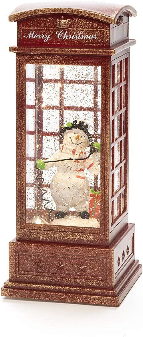Konstsmide LED kula śnieżna bałwan w skrzynce telefonicznej, wypełniona spinner wody/wewnątrz/5 godzin czasomierz/bateria: 3 x C 1,5 V (bez)/latarnia świąteczna 1 ciepła biała dioda, czerwona