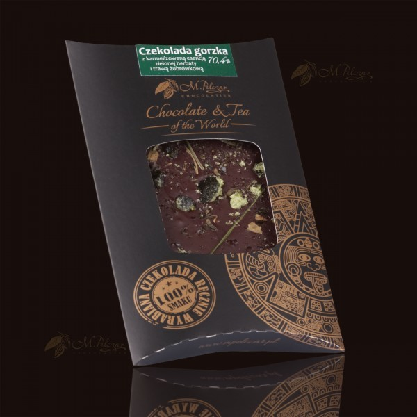 Czekolada gorzka 70,4% z karmelizowaną esencją zielonej herbaty i trawą żubrówkową
