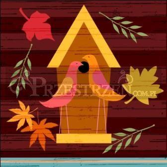SERWETKI PAPIEROWE - Jesienny domek dla ptaków