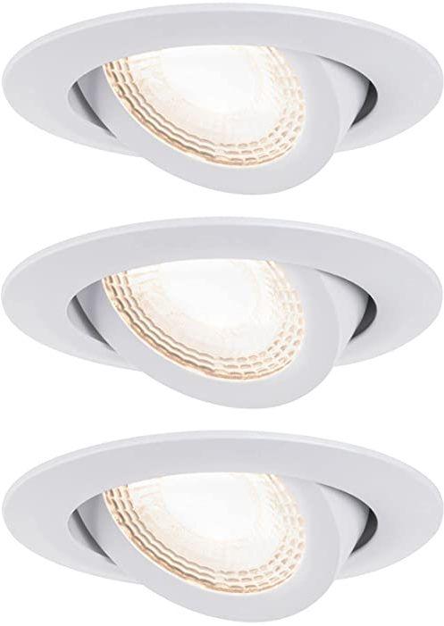 Paulmann 93388 LED lampa do zabudowy zestaw wychylna ciepła biel okrągła wraz z 3 x 6 W reflektor do zabudowy biała matowa lampa do zabudowy tworzywo sztuczne Spot 3000 K