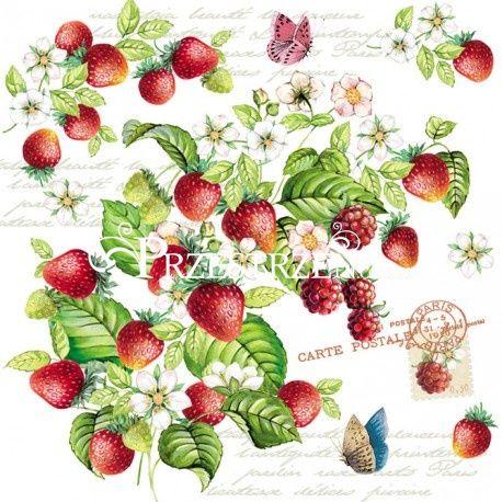 SERWETKI PAPIEROWE - Romantic Strawberries - Truskawki
