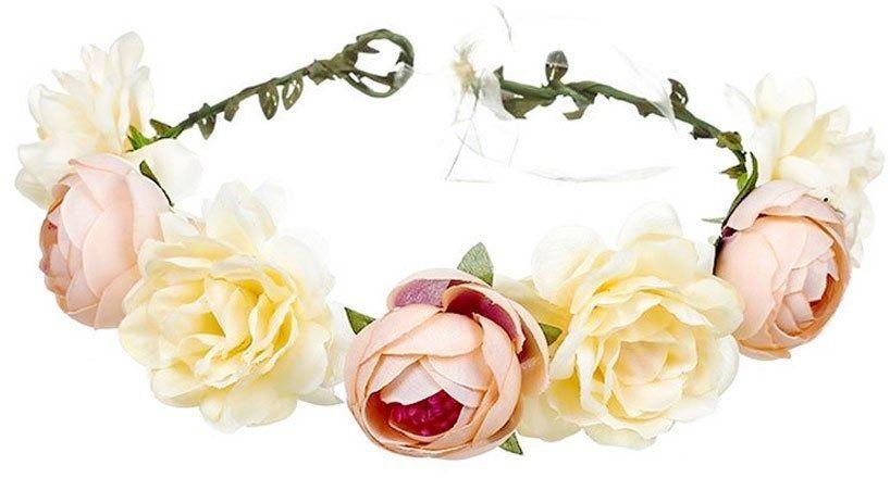 Wianek na głowę kwiaty brzoskwiniowy ślubny