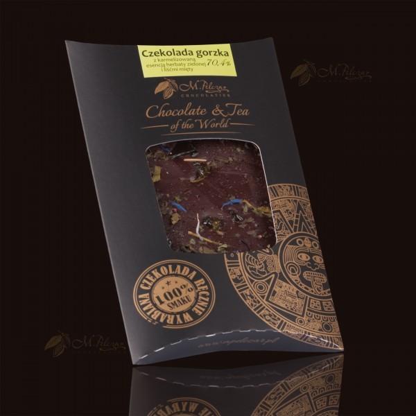 Czekolada gorzka 70,4% z karmelizowaną esencją herbaty zielonej i liśćmi mięty