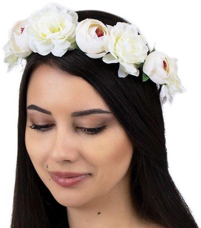 Wianek na głowę opaska kwiaty piwonie ecru ślubny
