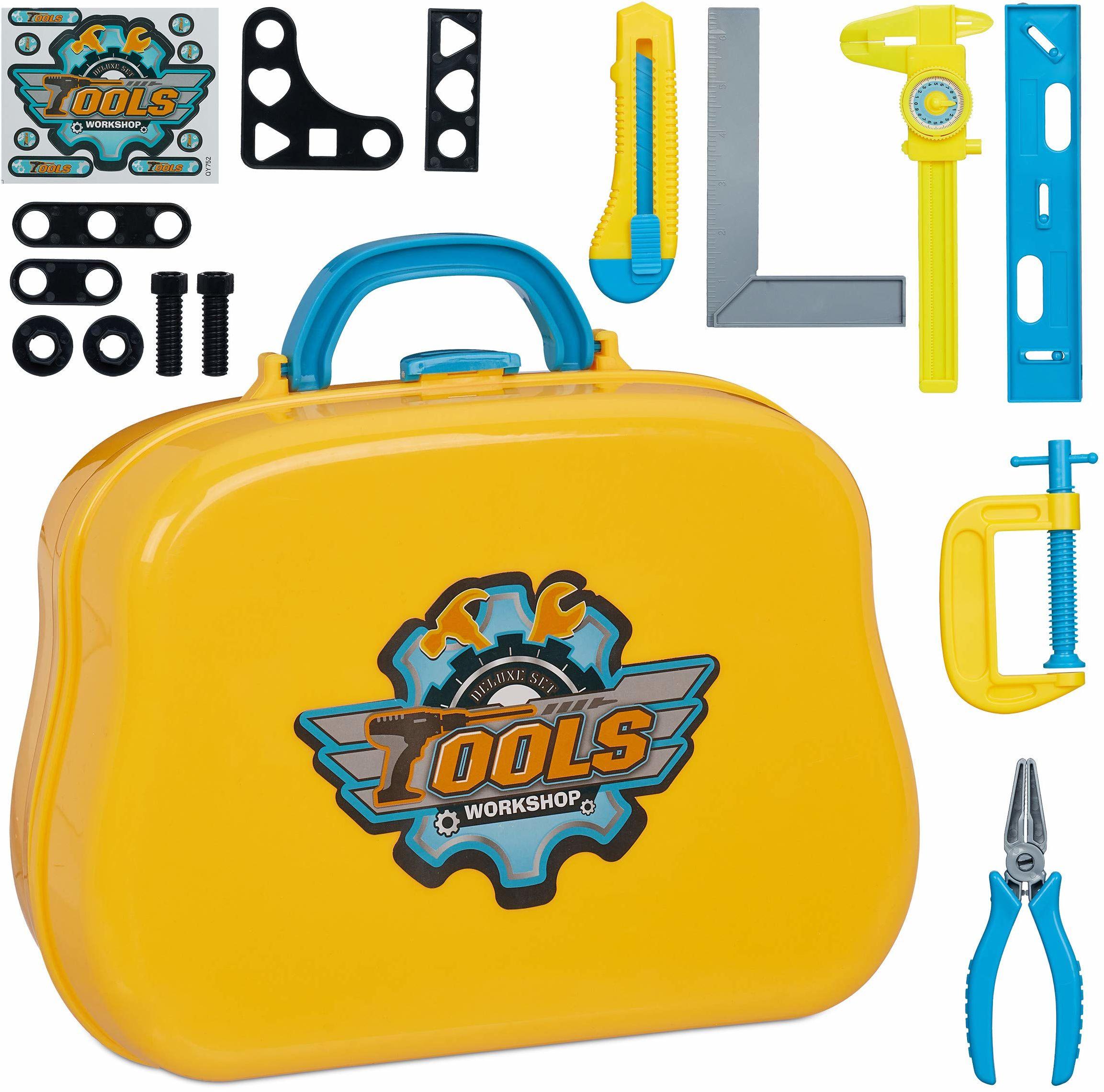 Relaxdays 10030703 walizka narzędziowa dla dzieci, 14 części, od 3 lat, z zaciskiem, wagą UVM, skrzynka narzędziowa (wys. x szer. x gł.): 19,5 x 25 x 10 cm, żółta