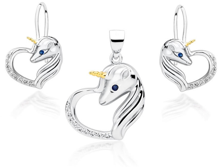 Delikatny rodowany srebrny wiszący komplet serca jednorożce unicorn cyrkonie srebro 925 Z1728DZGR_WBL