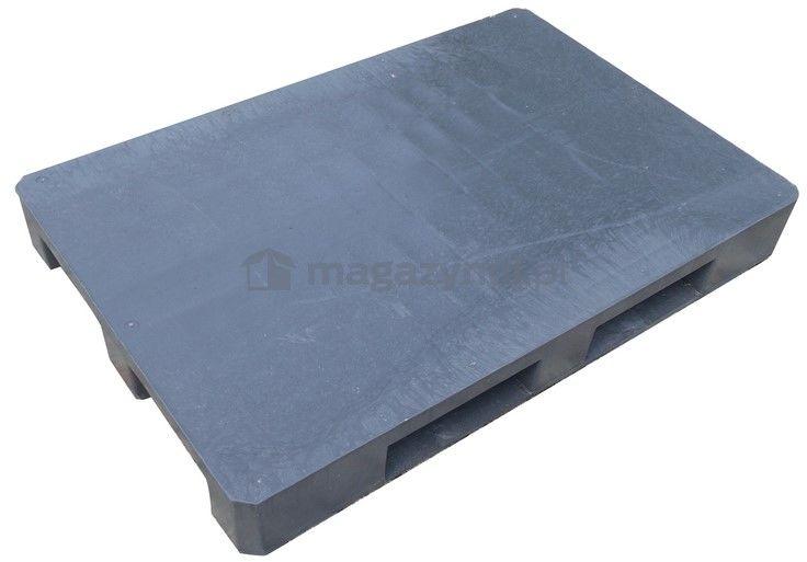 Paleta plastikowa Euro 1200x800 mm, z płozami, powierzchnia gładka (kolor czarny)