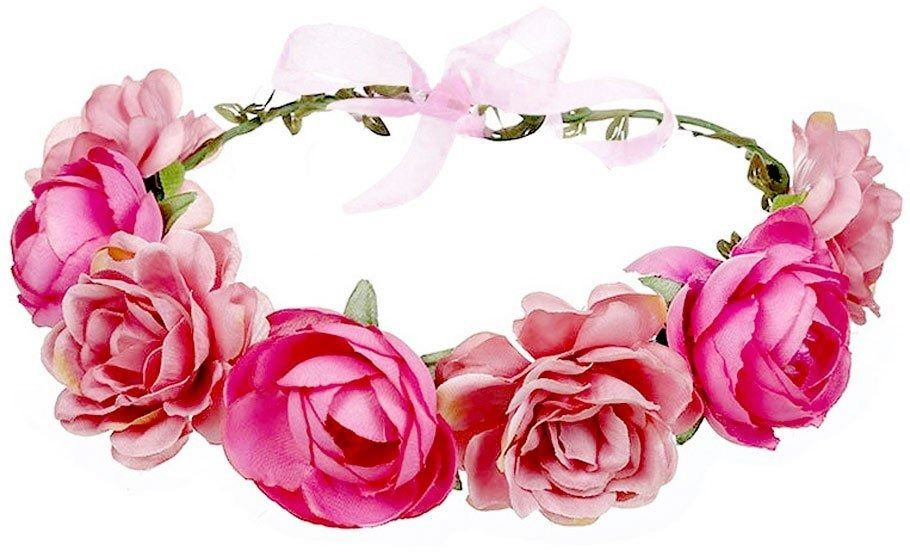Wianek na głowę kwiaty piwonie różowy ślubny