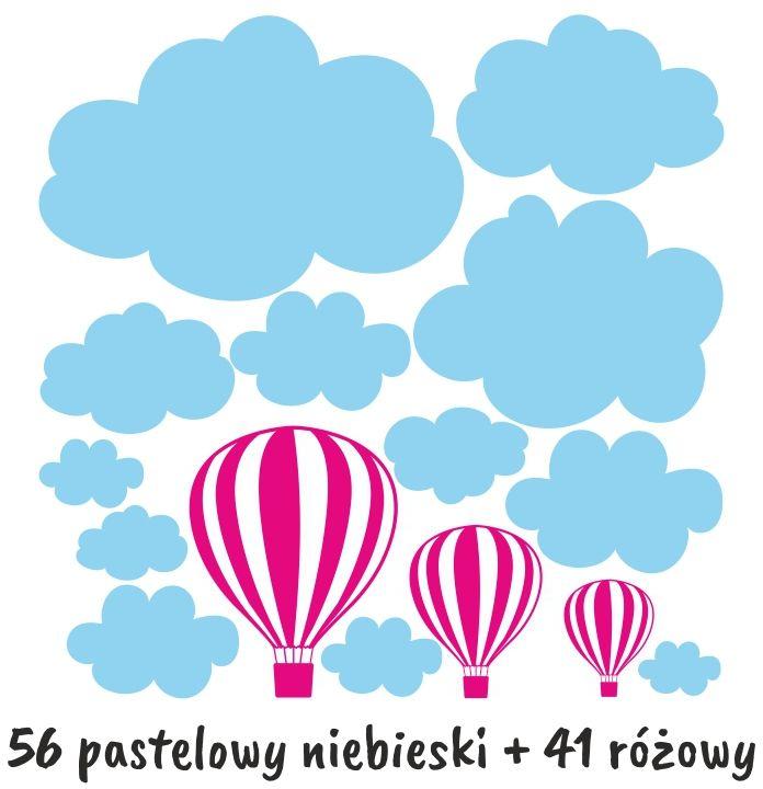 zestaw naklejek chmurki i balony naklejka na ścianę zestaw