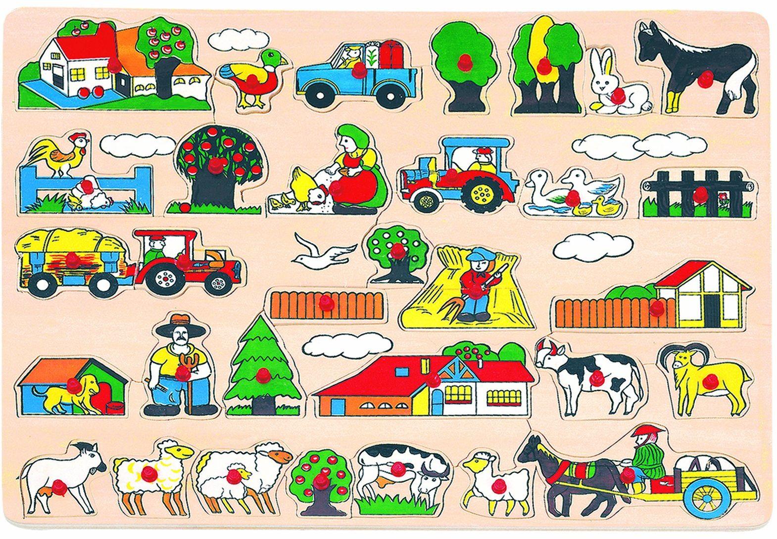 Bino 88073 Puzzle z motywem zwierząt gospodarskich, 31 szt. Klasyczna zabawka dla dzieci od 36 miesięcy, rozwija umiejętności motoryczne. Rozmiar: 45 x 1,5 x 35 cm, wielokolorowa