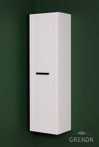 Regał łazienkowy biały 40x144cm, czarny uchwyt, styl Skandynawski, Gante Petto Bianco