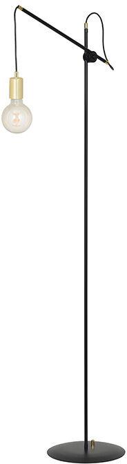 Emibig ARTEMIS LP1 BLACK 480/LP1 lampa podłogowa metalowa czarna loft regulowana złote elementy 1x60W E27 160cm